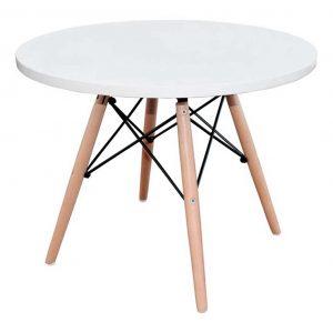 mesa baja estructura mixta madera y metal tablero blanco.