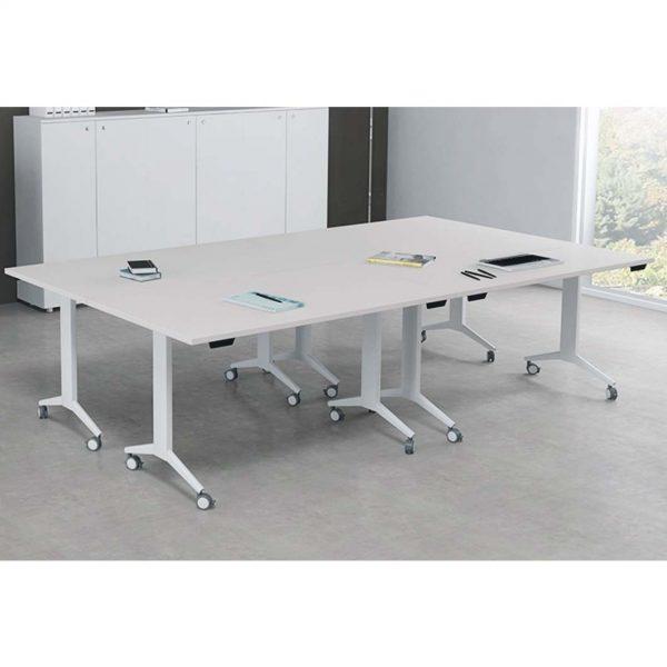 mesa colectividad con ruedas abatible. composicion mesas