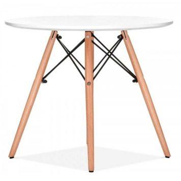 mesa redonda usos multiples en haya y blanco diametro 90 cm
