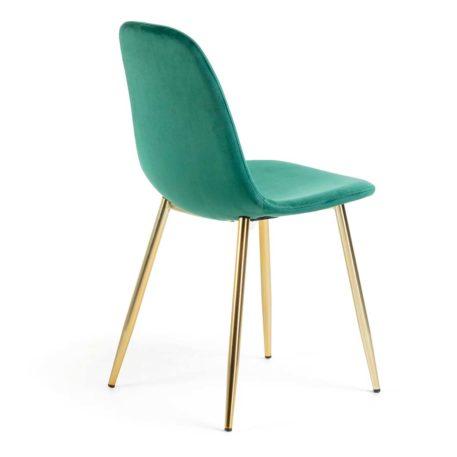 vista trasera silla evoque terciopelo verde estructura dorada