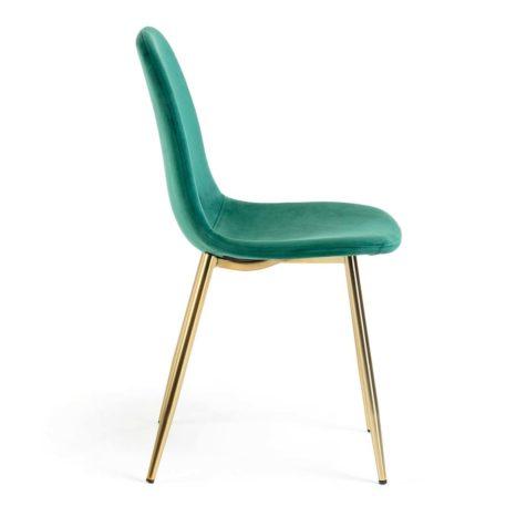 silla sin brazos tapizada terciopelo verde estructura dorada