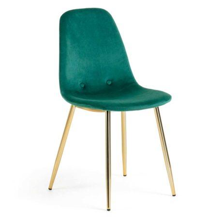 vista frontal silla sin brazos tapizada terciopelo verde