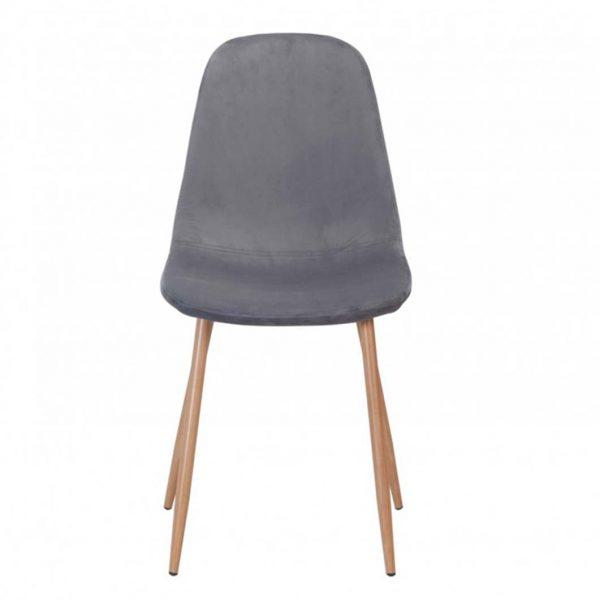 silla sin brazos cuatro patas terciopelo gris