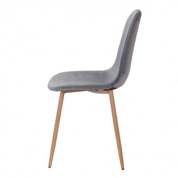 vista lateral silla ho sin brazos terciopelo gris