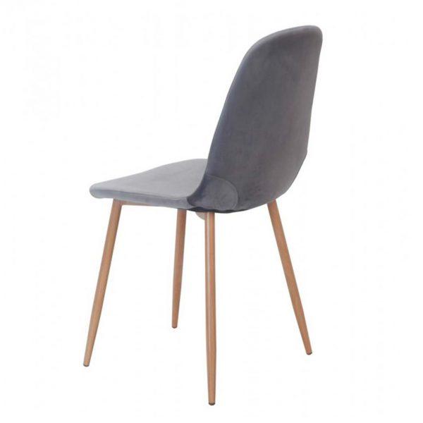 vista trasera silla sin brazos ho terciopelo gris estructura metalica