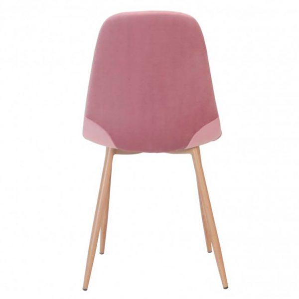 sillas sin brazos ho terciopelo rosa estructura metálica