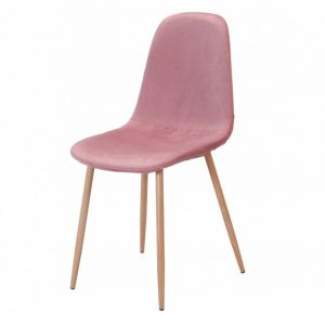 silla sin brazos ho terciopelo rosa estructura metálica