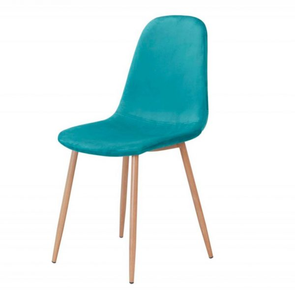 silla sin brazos ho terciopelo turquesa estructura metalica