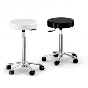 taburete TG1 base cromada asiento negro o blanco