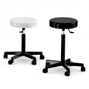 taburete TG1 base negra asiento negro o blanco