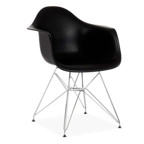 silla monocarcasa negra varilla cromada