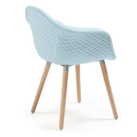 Vista trasera sillón multiusos modelo Kenia tapizado en lana azul claro