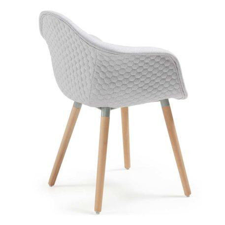 Vista trasera sillón multiusos modelo Kenia tapizado en lana gris claro