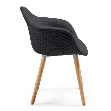 Vista lateral sillón multiusos modelo Kenia tapizado en lana gris oscuro