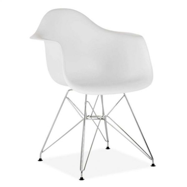 silla monocarcasa blanca varilla cromada