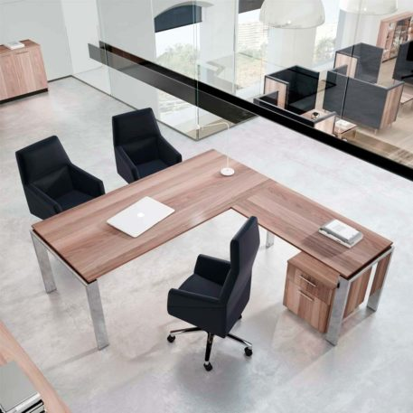 mesas de direccion y despachos pata cromada