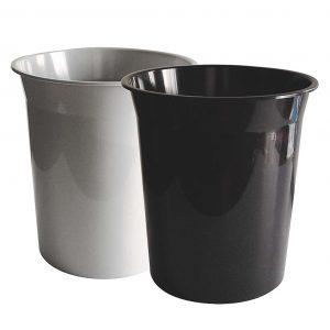 papelera pequeña basica circular gris y negra