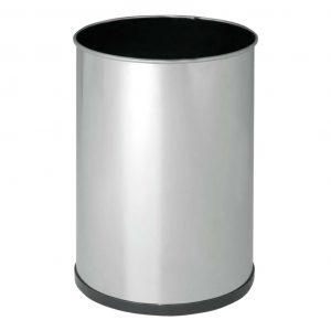 papelera cilindrica en acero inoxodable
