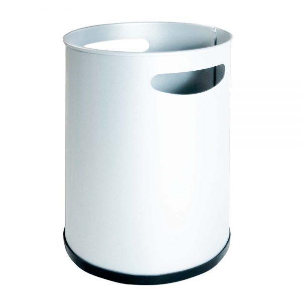papelera básica metalica con asas blanca.