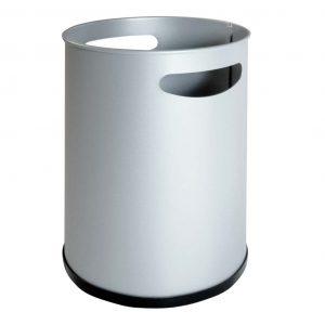 papelera básica metalica con asas gris.