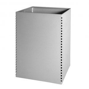 papelera metalica cuadrada gris