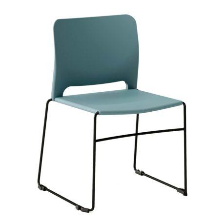 silla polipropileno azul patín negro sin brazos