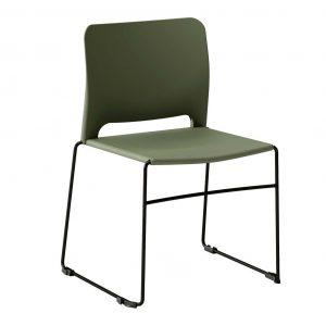 silla polipropileno verde patín negra sin brazos