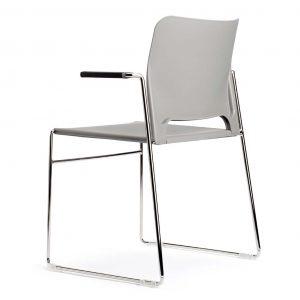 silla patín cromado con brazos