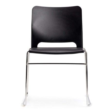 silla polipropileno negra patín cromado sin brazos