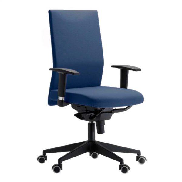 silla giratoria con brazos modelo zen azul