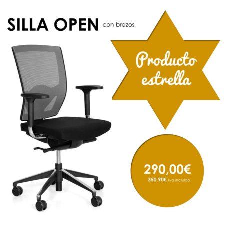 silla giratoria con brazos modelo open producto estrella